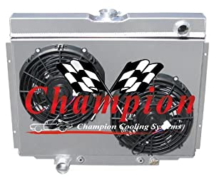 "3 Row All Aluminum Replacement Radiator Plus 12"" Reversible Dual Fans AND All Aluminum Shroud for the 1967-70 Ford Mustang, 1969 Ford Fairlane, 1969 Ford Ranchero, 1967-70 Mercury Cougar XR7 - Manufactured by Champion Cooling Systems, Part Number: 338FS"