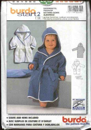Burda Sewing Pattern 2640 Size Child'S Boys Girls 3 Month-2 Year Hooded Bathrobe front-278129