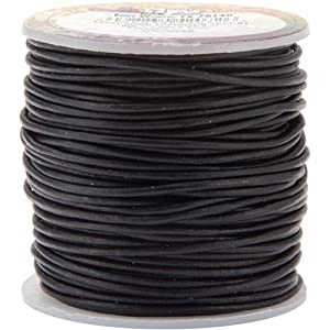 Leather Factory Round Leather Lace, 1-Millimeter, Black
