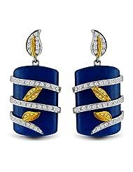 Aastha Jain Blue Zade Quartz Sterling Silver Drop(18k Gold Plated) Earring For Women - B00N2T4ETE