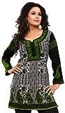 Polyster Tunics Kurti Top Long Womens India Apparel (Black, XXL)