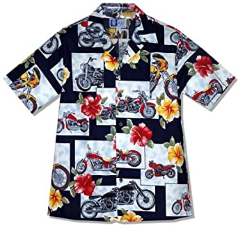 Motorcycle Hibiscus Men's Hawaiian Aloha Shirt in Navy Blue - Medium