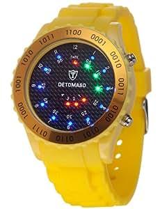 DETOMASO Unisexuhr Quarz Kunststoffgehäuse Silikonarmband Mineralglas COLORATO SPACY TIMELINE 2 Binär Trend schwarz/gelb DT2015-F