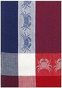 "100% Cotton Blue Red & White 18""x28"" Dish Towel, Set of 6 - Crab Navy"