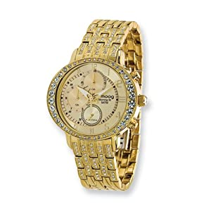 Fashionista Morning Fit Gold Dial/ip-plated Chrono Watch by Moog Watches, Best Quality Free Gift Box Satisfaction Guaranteed