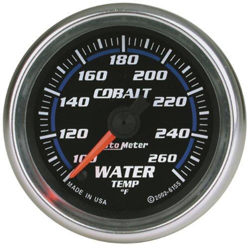 "Auto Meter 7955 Cobalt 2-5/8"" 100-260 Degree F Full Sweep Electric Water Temperature Gauge With Peak Memory And Warning"
