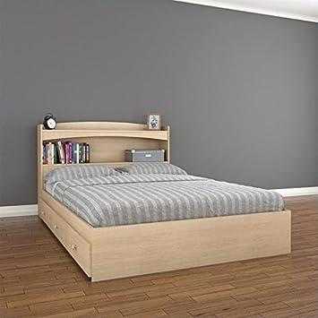 Nexera Alegria 2 Piece Full Bedroom Set in Natural Maple