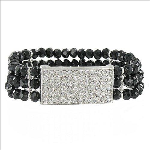 Three Line Crystal Bead Stretch Bracelet #041218