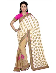 Designersareez Women Off White & Beige Georgette Jacquard & Net Saree With Unstitched Blouse (1676)