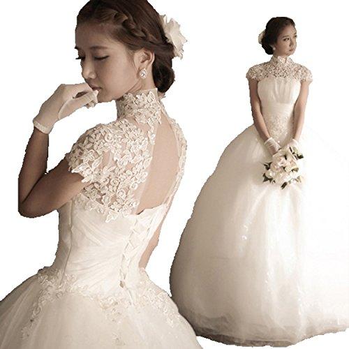 ウェディングドレス ハイネック レース プリンセスライン エレガンス 極上ドレス (M)