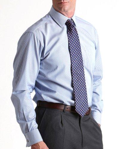 Savile Row Mens Navy Fine Stripe Classic Fit Formal Shirt Neck Size 15.5