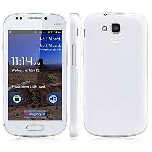Unlocked Quadband 2 sim with Android 2.3 OS (Android 4.1 UI) Smart Phone 4.0 Inch Capacitive Touch Screen Compatible with GSM carriers T-mobile Simple mobile (White)