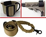 Ultimate Arms Gear Tactical Ambidextrous Slip On Stock Buttstock Coyote Desert Tan Single 1 Point Sling Mount Strap Loop Adapter Rifle Shotgun Attachment Nylon Webbing with D-Ring + Coyote Tan 1 Single Point Bungee