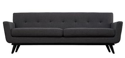 TOV Furniture James Mid-Century Modern Linen Sofa, Grey