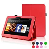 Kindle Fire HD 7 Case-ACcover Amazon Kindle Fire HD7 2012 Version Case-Standing Leather Smart Cover Case For Kindle Fire HD 7 (2012 Version) with Auto Sleep Wake Function-Red