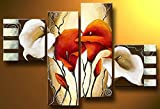 Cherish Art 100% Hand Painted Oil Paintings Gift White Red Flowers 4 Panels Wood Inside Framed Hanging Wall Decoration - (16x16Inchx2, 12x32Inchx2)