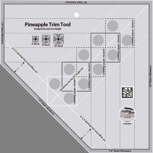 Creative Grids Pineapple Trim Tool Plus Tropical Fruit Pineapple Quilt Pattern