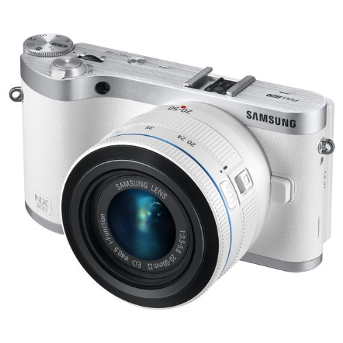 Samsung NX300 20.3MP CMOS Smart WiFi Mirrorless Digital Camera with 20-50mm Lens and 3.3″ AMOLED Touch Screen (White)