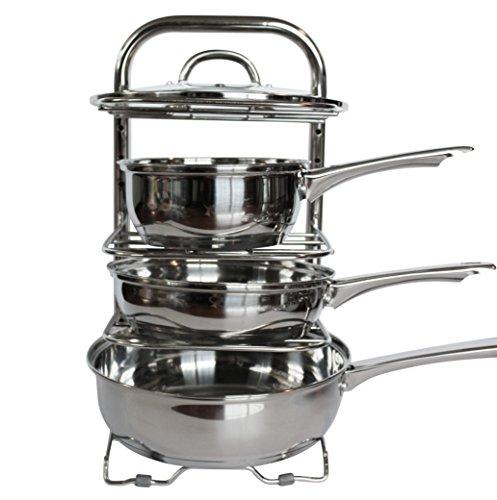 uhgoods cookware holders height adjustable pan and pot organizer rack kitchen ebay. Black Bedroom Furniture Sets. Home Design Ideas