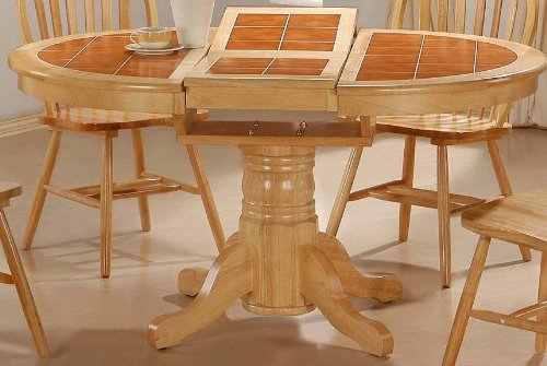best deals round tile top natural dining room table butterfly leaf
