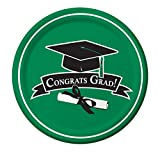 Creative Converting 18 Count Congrats Grad School Color Dinner Paper Plates, Emerald Green by Creative Converting