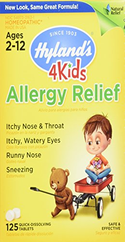 Hyland's 4 Kids Natural Allergy Relief Tablets, Natural Symptomatic Relief of Indoor & Outdoor Allergies, 125 Count