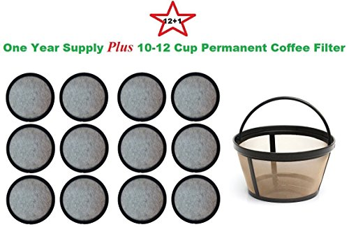 10-12 Cup Permanent Basket-Style Coffee Filter & a set of 12 Water Filters designed to fit Mr. Coffee Coffeemakers (Permanent Coffee Filter 10 12 compare prices)