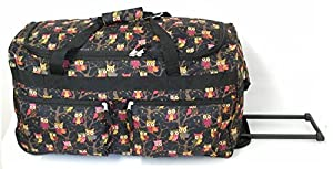 "Navy 27""Owl Print 2 Wheeled Luggage Suitcase Trolley Bag"