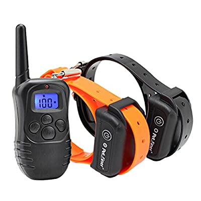 Petrainer 330 Yards Remote Training E-collar PET998DB Rechargeable and Waterproof Dog Training Collar for 2 dogs with Safe Beep, Vibration and Shock Electronic Electric Collar for Medium or Large Dog Trainer with Newly Upgraded-Blue Backlight Screen