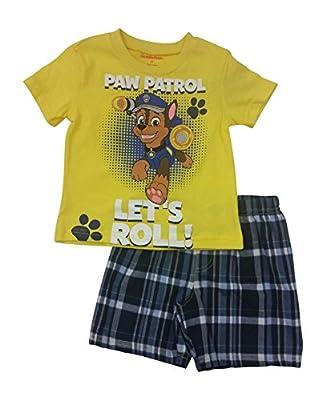 Paw Patrol Lets Roll Boys 2 Piece Shirt & Plaid Short Set