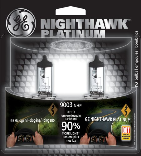 Ge Nighthawk Platinum 9003 Halogen Replacement Headlight Bulbs, (2 Pack)