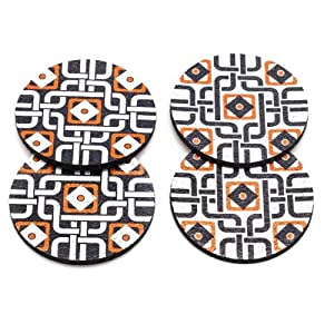 Flox 'Moroccanometry in Orange' Rubber Coasters