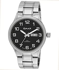 OMAX Men's Stainless Steel Semi Formal Watch With Day And Date Feature Black - SS498