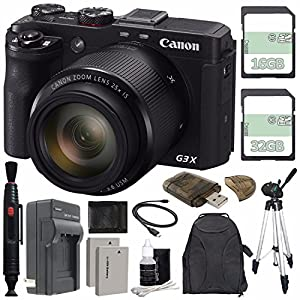 Canon PowerShot G3 X Digital Camera + Extra Battery + Charger + 16GB + 32GB + Large Gadget Backpack + Memory Card Wallet + Card Reader + Tripod Bundle
