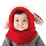 Oyedens Oyedens Fotografia Bebes Newborn Photography Props El Bebé Del Invierno Para NiñOs Muchachos De Las NiñAs Woolen Cofia De La Capilla De La Bufanda Capsula Los Sombreros (talla única, Rojo)