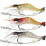 Goture Soft Lures Shrimp Bait Set Kit Lots For Freshwater Trout Bass Salmon (Color: 3.54in/0.21oz 3Piece)