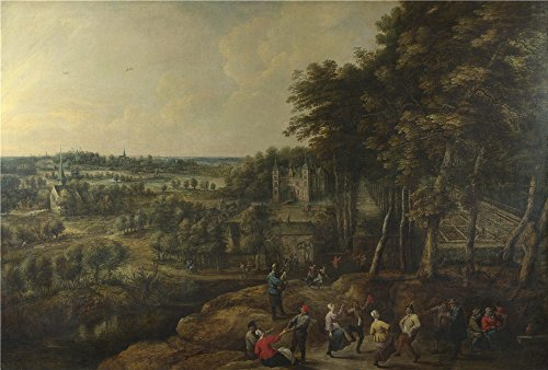 Perfect Effect Canvas ,the Beautiful Art Decorative Canvas Prints Of Oil Painting 'Lucas Van Uden And David Teniers The Younger Peasants Merry Making Before A Country House ', 12 X 18 Inch / 30 X 45 Cm Is Best For Game Room Decoration And Home Decor And Gifts