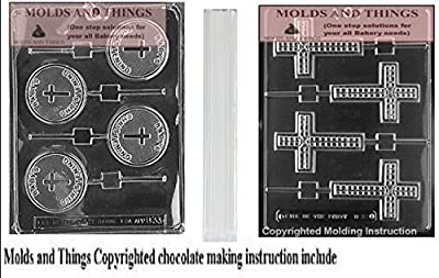 Baby's Christening Lolly Chocolate Candy Mold, Cross Chocolate Candy Mold and 50 sticks With © Candy Making Instruction