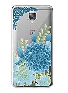 MiiCreations Printed Transparent Crystal Clear Silicon/Soft back cover for OnePlus 3,Blue Flower Pattern