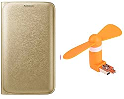 Novo Style Samsung Galaxy S7 Premium PU Leather Quality Golden Flip Cover+ Smallest Mobile Fan Android Smart Phone & USB Dual Power