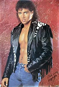 (22x32) Campy 80s Male Mode, Billy Hufsey in Leather Jacket, Photo Print Poster
