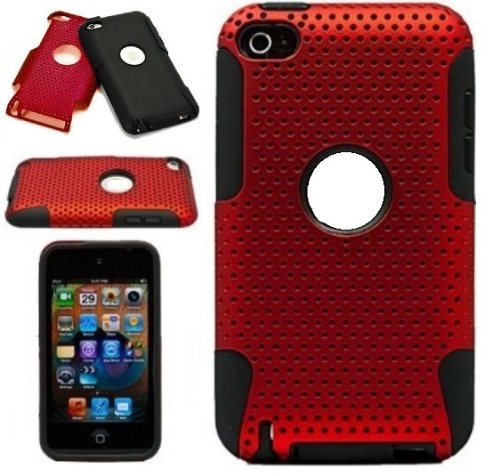 Metallic Red Protective Dual Hard Case and Soft Silicone Skin for Apple iPod Touch 5th Generation (iPod Touch 5 Latest Gen) and Apple iPod Touch 4th Generation, 4th Gen (8GB, 16GB, 32GB, 64GB)