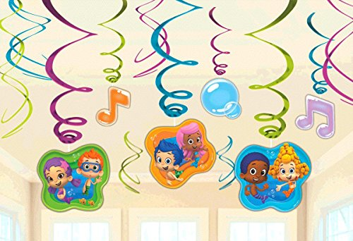 Bubble Guppies Party Foil Hanging Swirl Decorations / Spiral Ornaments (12 PCS)- Party Supply, Party Decorations