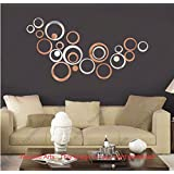 Diwali Decor - Acrylic Mirror 3D Wall Décor Stickers For Home And Office - Large Size , Bronze + Silver Mirror...