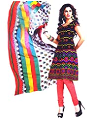 Namaskaar India Black & Pink Printed Salwar Suit Dupatta Material For Women