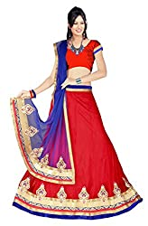 SAILAXMI FASHION Women's Red Net Lehenga Choli (SLF_LEH_Sangeet_01_Red_Free_Size)