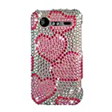 White/ Pink Heart With Full Rhinestones Hard Protector Case Cover For HTC Droid Incredible 2 ADR6350