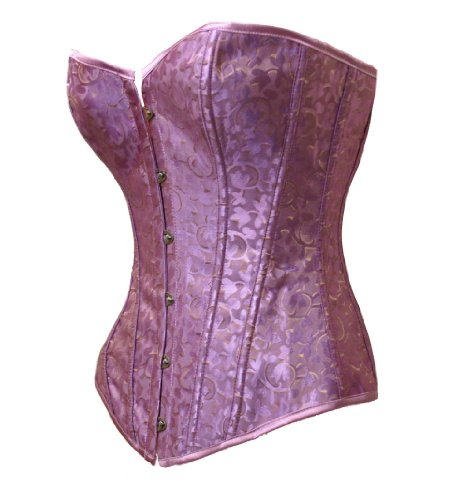 Bslingerie Womens Purple Gold Brocade Boned Bustier Corset Size: L