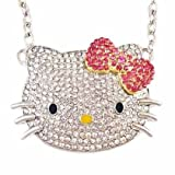 Large Silver Hello Kitty Crystal Cz Necklace with Pink Bow, Rhodium Plated, Celebrity Pendant