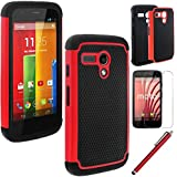 MOTO G case,EC™ Shock Absorbing Dual Layer Hybrid Case, Heavy Duty Protective Armor Case Cover for Motorola Moto G with Screen Protector and Stylus Pen (Red)